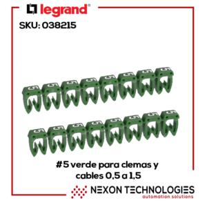 #5-Verde p/clemas y cables 0.5-1.5 Legrand-038215
