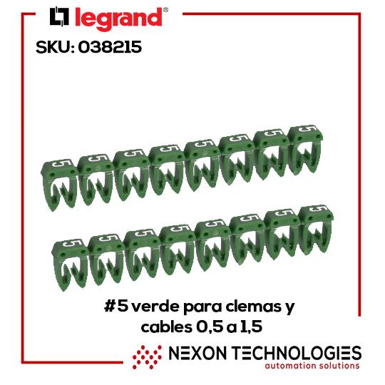 #5 verde para clemas y cables 0,5 a 1,5